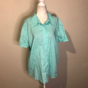 Vintage 90s polka dot rockabilly blouse pinup xl